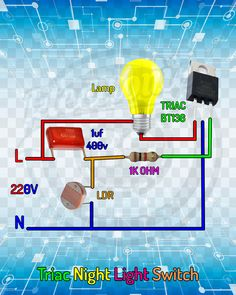 me ~ Triac Night Light Switch. Electronics Projects, Electronic Circuit Projects, Hobby Electronics, Electronics Components, Electrical Engineering Books, Electrical Projects, Electronic Engineering, Led Projects, Arduino Projects