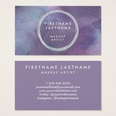 #makeupartist #businesscards - #Purple Pastels Watercolor Salon and Makeup Artist Business Card