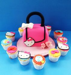 Hello Kitty purse cake and matching cupcakes