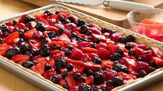 Fresh Berry Slab Pie fabulous pie recipe makes 24 mouthwatering servings--perfect for summer entertaining. It's one of our top 10 Pies to Try! Pie Recipes, Dessert Recipes, Cooking Recipes, Dessert Ideas, Easy Recipes, Simply Recipes, Recipies, Pastries Recipes, Potluck Recipes