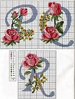 Alphabet with roses and yellow flowers (6)