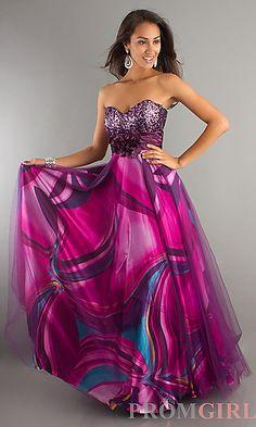 Strapless Print Prom Dress at PromGirl.com--Beautiful as a bridesmaids dress