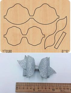 Silver creative bow Die cutting Wooden Die Fits Big shot Pro, New sizzix YTThis plate can do thousands of cuts. Products used in Big Shot machines.Die-cutting materials are: blankets, paper, kraft paper, plastic film. Diy Hair Bows, Making Hair Bows, Diy Bow, Big Shot, Bow Template, Hair Bow Tutorial, Bow Pattern, Cheer Bows, Disney Crafts