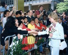 Greeting crowds on the Chicago campus. Princess Diana visits Northwestern in June 1996