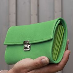long leather wallet green