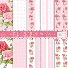 Pink Shabby Papers: ROSES PAPERS, pink texture, pink background, , stripes, polka dot roses