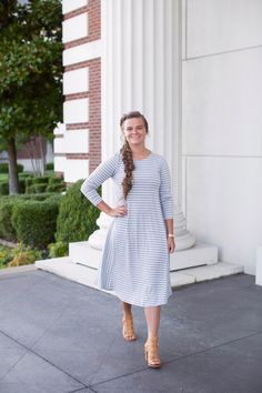 Modest fashion | Modest dresses and bridesmaid dresses | Gray and white striped swing dress by Dainty Jewell's Modest Apparel