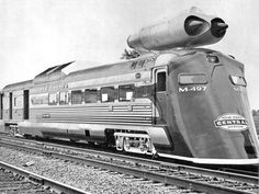 jet-enhanced train car was tested (successfully) in the summer of 1966. This was the time when rail-road usage declined in America, as the interstate highway system completed its major routes and airlines drew increasing numbers of travelers. New York Central research team, led by Don Wetzel, was assigned a task to collect data on possible high-speed rail service and whether the tracks could handle high-speed passenger traffic