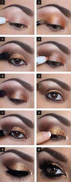 Glam gold smokey eye makeup tutorial