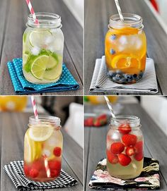 Basil Lime Mint Infused Water, Lemon Cucumber Fruit Infused Water