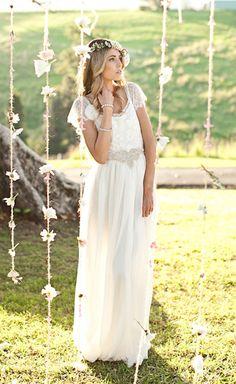 I like the front of this wedding dress. Boho vintage lace wedding dress beautiful lace by Graceloveslace