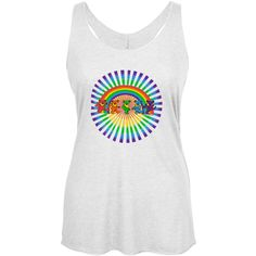 Grateful Dead - Rainbow Bears White Juniors Racerback Tank Top