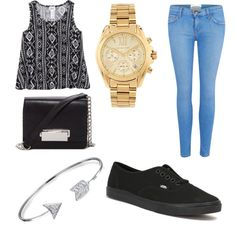 6th grade outfit #4 by keymiraw on Polyvore featuring polyvore fashion style Current/Elliott Vans Forever 21 Michael Kors Bling Jewelry
