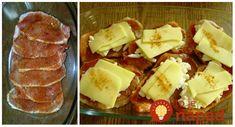 Výborný obed z mäsa a šťavnatej oblohy. Všetko stačí len hodiť na plech, pridať oblohu a perfektné jedlo máte na stole.  Potrebujeme:  Plátky bravčového karé    1 cibuľu    Niekoľko plátkov tvrdého syra    2 lyžice hustej majonézy    Olivový olej, pár kvapiek citrónovej šťavy    Sladkú Pork Recipes, French Toast, Food And Drink, Dairy, Low Carb, Pudding, Beef, Cheese, Dishes