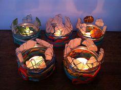 Candle Holder Sea Glass Fishing Net Rope Beach Nautical