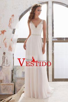 2017 vestidos de boda del cuello V gasa Una línea con los granos y bordado US$ 219.99 VEPNQ7KHYX - 2016Vestido.com for mobile