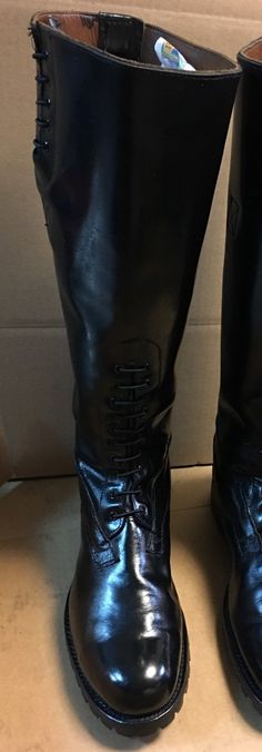 Size 11E Black Genuine Leather Motorcycle Patrol Boots. The pictures are for example, we have about 150 pair of these in almost every possible size and leg circumference. If you do not see the size you need in men's or ladies. | eBay!