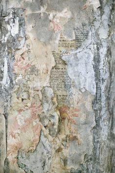 Layers of old wallpaper peeling away to reveal old newspaper underneath... pinned with Bazaart