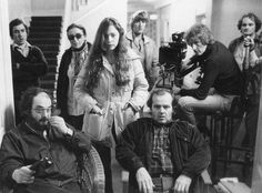 On the set of The Shining, with Stanley Kubrick, Jack Nicholson, Steadicam inventor Garrett Brown, Kubrick's daughter, Vivian, Continuity Supervisor June Randall, and others.