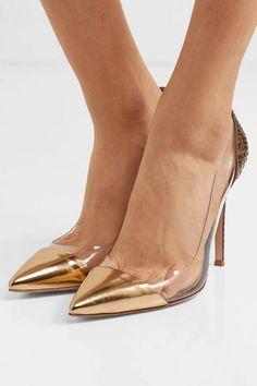Gianvito Rossi - Plexi 105 python, metallic leather and PVC pumps High Heel Pumps, Women's Pumps, Pump Shoes, Stiletto Heels, Python, Rossi Shoes, Giuseppe Zanotti Shoes, Pomellato, Party Shoes