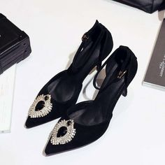 49.47$  Watch here - http://aliimt.shopchina.info/go.php?t=32799553107 - 2017 New Brand High Heels Party Kid Suede Stiletto Ankle Strap Women Pumps Pointed Toe Genuine Leather Crystal Wedding Shoes 2-2 49.47$ #magazineonline