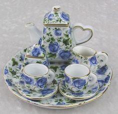 Mini Miniature Blue Flower Decorative Tea Set