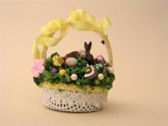 Dollhouse Miniature Sweet Easter Basket with Yellow Ribbon Clara's Cuties
