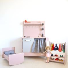 Wooden toy kitchen, dolls bed and clothes rack by #macarenabilbao #woodentoys