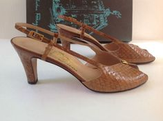 Salvatore Ferragamo Heels 6.5 AA Open Toe Brown Leather Reptile Slingbacks #SalvatoreFerragamo #Slingbacks #WeartoWork