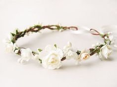 Bridal flower crown Wedding floral crown Ivory by NoonOnTheMoon