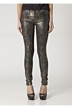 J Brand 901 Stonehenge Brand 901 Gold Snake Print Denim Leggings 28, Low Rise, Skinny Leg ...