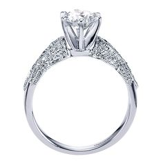 14k White Gold Diamond Straight Engagement Ring | Gabriel & Co NY | ER3848W44JJ