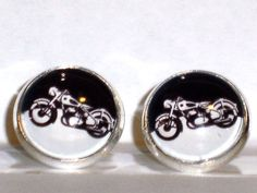 Ohrstecker Motorrad Damen Ohrringe Ohrschmuck Modeschmuck ohne Stein Glas