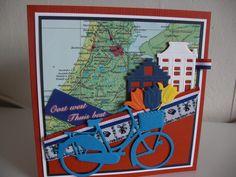 Holland kaart met grachtenpandjes en tulpen,,,,ja uit Amsterdam,natuurlijk..