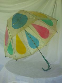 Clear Vintage Umbrella with Colored Raindrops by vintapod on Etsy