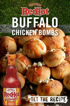 Try these Buffalo Chicken Bombs for a new take on a fan favorite. This buffalo chicken recipe is THE BOMB. Finger Food Appetizers, Yummy Appetizers, Appetizers For Party, Appetizer Recipes, Snack Recipes, Cooking Recipes, Party Recipes, Finger Foods, Chicken Bombs
