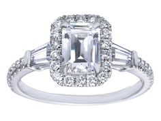 Emerald Cut Diamond Halo Engagment Ring Baguette Side Stones in 14K White Gold
