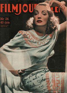 "Marlene Dietrich on the cover of ""Filmjournalen"" magazine"