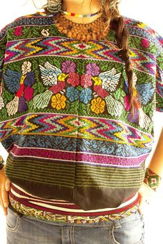 Pajaritos Mayas vintage cotton Huipil