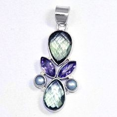 Natural Pan green Amethyst and Pearl Gemstone Sterling Silver Pendant Gemstone: Green Amethyst, Amethyst and pearl  Stone Size: 10*14, 5*10, 5mm Stone Shape: Pearl, Marquise And Round Metal: 925 Sterling Silver Weight:7 Gram