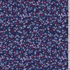 3274e9e5e5 Midnight Multi Confetti Rayon Challis, Fabric By The Yard. Red Fabric,  Dusty Blue ...