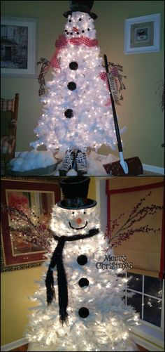 Make a Snowman Out of a Christmas Tree  It might be easy to think about making a snowman with a Christmas tree if you have a white tree. But as our collection of Snowman Christmas trees show, you don't even have to own one.  Yes, you can definitely do this idea with your green Christmas tree too!  Get ideas on how to decorate your Christmas tree to look like a snowman by viewing our album:  http://craft.ideas2live4.com/2015/12/03/make-a-snowman-out-of-a-christmas-tree/