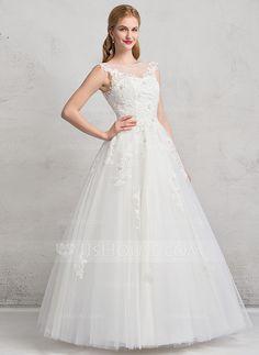 De baile Decote redondo Longos Tule Vestido de noiva com Renda Beading Apliques de Renda lantejoulas (002081895)