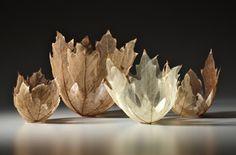 Japanese artist Kay Sekimachi created leaf bowl sculptures using skeletons of actual maple leaves. #art #sculpture #mapleleaf