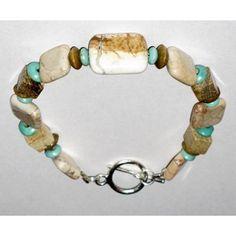 Aqua, Tan, and Beige Men's Bracelet