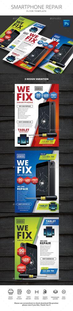 #Smartphone Repair - #Corporate #Flyers Download here:  https://graphicriver.net/item/smartphone-repair/19533124?ref=alena994