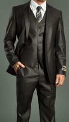 MEN'S TWO BUTTON DARK BROWN SLIM FIT SUIT