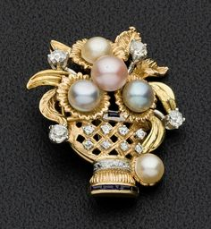Cultured Pearl, Diamond, Sapphire, Gold Brooch The brooch features cultured pearls measuring 4.60-6.25 mm, enhanced by full and single-cut d...