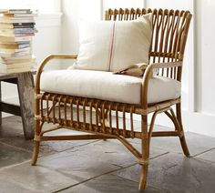 Handcrafted Paddington Rattan Armchair- Featuring Curved Arms, A Slatted Seat and Back, And Gently Splayed Legs