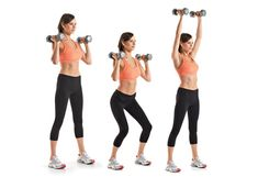 """""""The Swimsuit-Ready Workout"""" (Circuit Training) Dumbbell Push Press  #Target: Your shoulders, triceps, and thighs    Stand holding a pair of dumbbells just outside of your shoulders, with your arms bent and palms facing each other. Your feet should be shoulder-width apart, your knees slightly bent [A]. Dip your knees [B] and then press the weights straight over your shoulders until your arms are completely straight [C]. Then lower the dumbbells back to the starting position and repeat. Make…"""